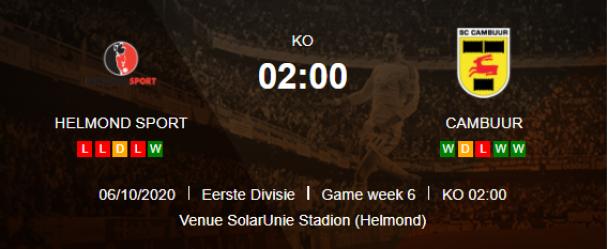 วิเคราะห์บอลวันนี้ [ ฮอลแลนด์ เอร์สเตอดีวีซี ] เฮลมอนด์ สปอร์ต VS คัมบูร์